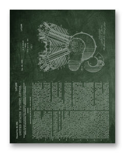"Harley Engine Patent 11"" x 14"" Mono Tone Print (Choose Your Color)"