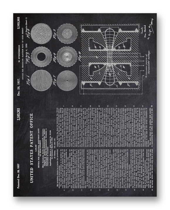 Steenbeck Electron Ray Patent 11x14 Monotoned Print