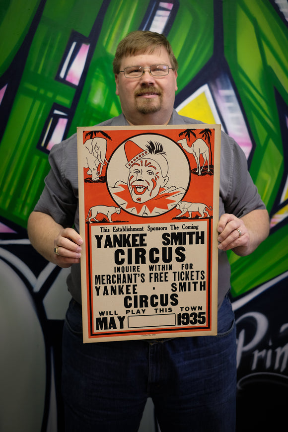 Vintage Yankee Smith Circus Poster MAY 1935 - Limited Quantity Available