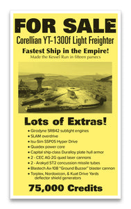 "For Sale: Corellian YT-1300f Light Freighter Star Wars 13""x22"" Vintage Style Showprint Poster - Concert Bill - Home Nostalgia Decor Wall Art Print"