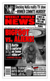 "Weekly World News Bigfoot VS Aliens 13"" x 22"" Showprint Poster (Special Red Edition)"