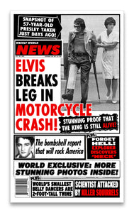 "Weekly World News Elvis Motorcycle Crash 13"" x 22"" Showprint Poster"