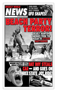 "Weekly World News Beach Party Terror 13"" x 22"" Showprint Poster (Special Red Edition)"