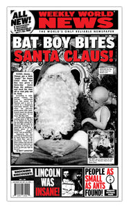 "Weekly World News Bat Boy Bites Santa Claus 13"" x 22"" Showprint Poster (Special Red Edition)"