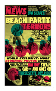 "Weekly World News Beach Party Terror 13"" x 22"" Showprint Poster (Neckahneck Artist Edition)"