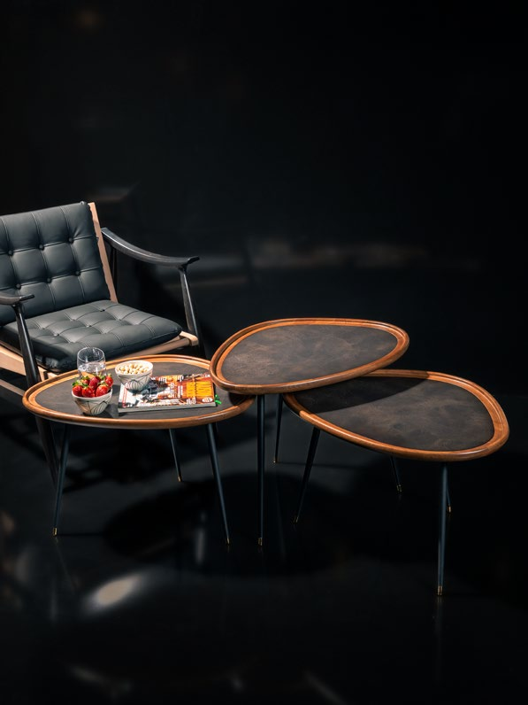 Boardline Collection - Leather Service Table - Newton