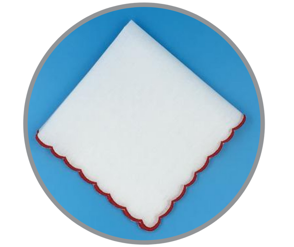 Scalloped Edge Handkerchief, Red