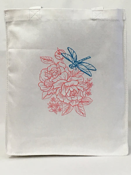 Dragonfly Floral Tote Bag