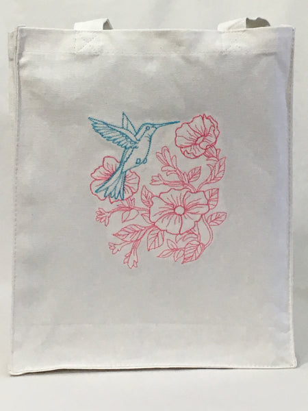 Hummingbird Floral Tote Bag