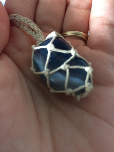 Blue Agate Hemp Wrapped Necklace