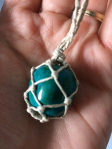 Green Magnesite Hemp Wrapped Necklace