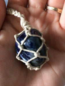 Sodalite Hemp Wrapped Necklace
