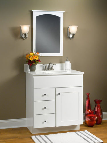 Dartmouth Cabinet Vanity in White - Cultured Marble Top