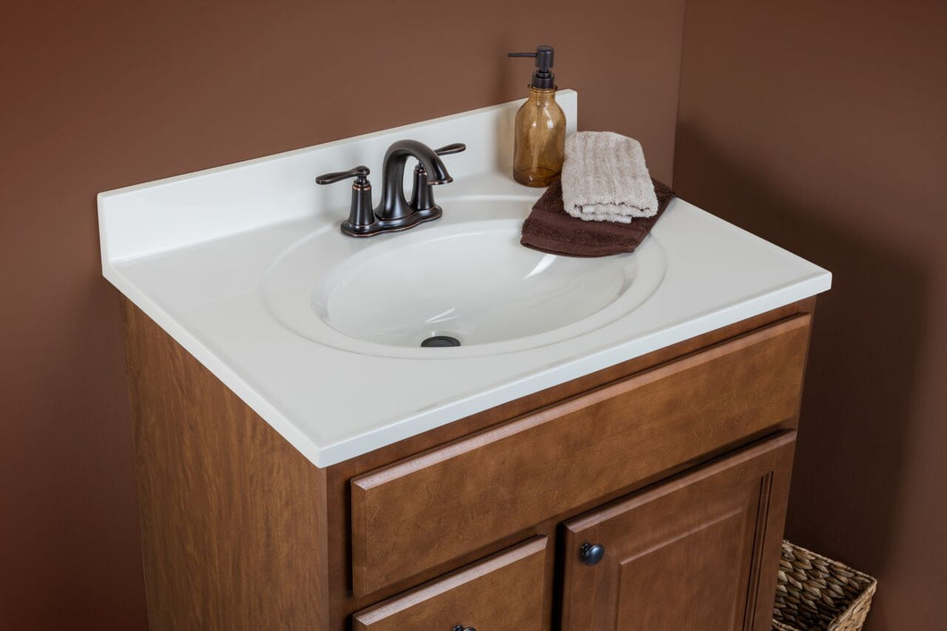 Saginaw Vanity Cabinet in Chestnut - Cultured Marble Top