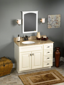 Hudson Vanity Cabinet in Antique White - Natural Granite Top