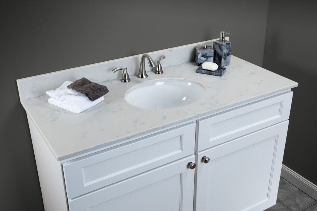 York Vanity in White - Quartz Top