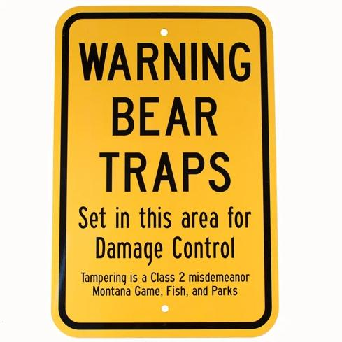 Bear Trap Warning Sign - TrapShed Supply Co.