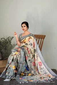 Graceful Cream-Grey Colored Festive Wear Linen Digital Printed Sari MS-11043