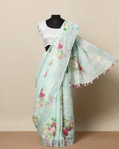 Greenis shado Colored Casual Wear Linen Digital Printed Sari MS-11056