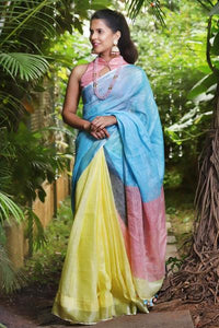 Multi Colored Casual Wear Linen Digital Printed Sari MS-11069