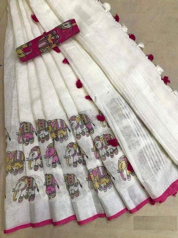 Elephant White Colored Festive Wear Linen Digital Printed Sari MS-11220