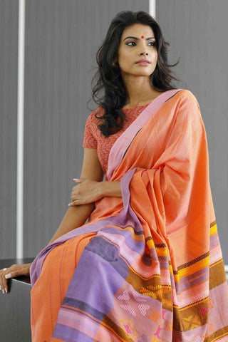 Beautiful Orange-Purple Party Wear Linen Digital Printed Saree MS-11264