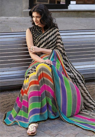 7 Patta Fantastic Multi Colored Linen Digital Printed Saree MS-11271