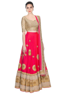 Beautiful Pink Color Embroidery Georgette Lehenga Choli  - Abhira Pink Lehenga