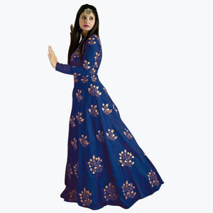 Designer Embroidered Salwar Suit for Womens- Divya Navy Blue