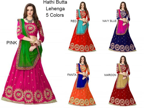 Best Color Combination Embroidery Silk Lehenga Choli with Dupatta - Hathi Butta Lehenga all color