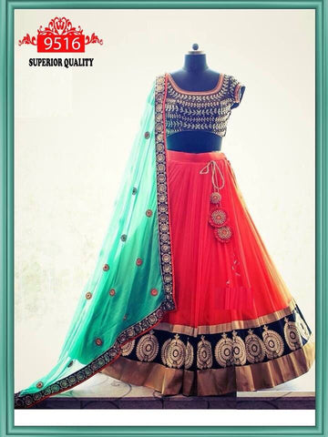Beautiful Orange Color Embroidery Net Lehenga Choli  - Kaya Fanta Lehenga