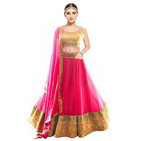 Beautiful Pink Color Embroidery Georgette Lehenga Choli  - Kaya Pink Lehenga