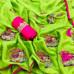 Perfect Parrot Green color Georgette Embroidery Sari MDS-1 PG