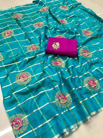 Blooming Sky Blue color Party wear Sana Silk Embroidery Sari MDS-11 SB
