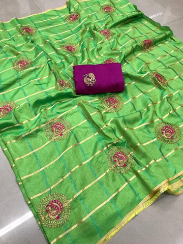 Glowing Green color Party wear Sana Silk Embroidery Sari MDS-11 GREEN