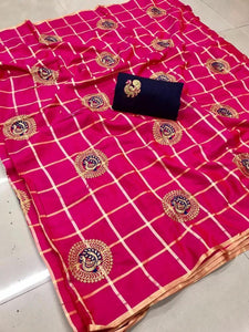 Glowing Pink color Party wear Sana Silk Checks Embroidery Sari MDS-11 PINK