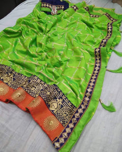 Parrot Green color Party wear Sana Silk Checks Embroidery Sari MDS-12 PG