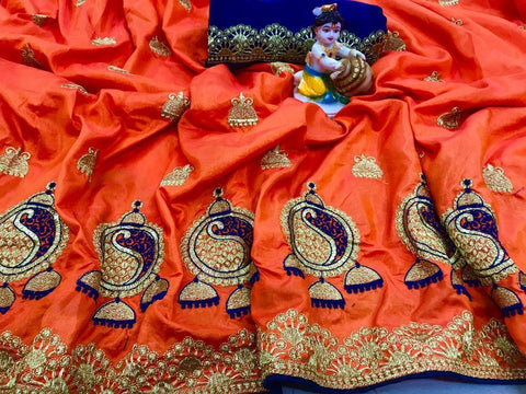 Beautiful Orange color Sana Silk Embroidery Sari MDS-2 ORANGE
