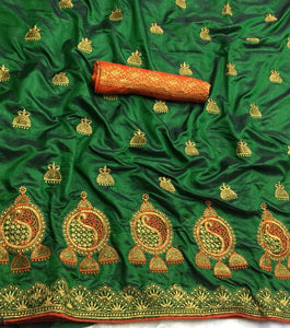 Super Green color Sana Silk Embroidery Sari MDS-2 GREEN