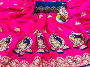 Lightful Pink color Sana Silk Embroidery Sari MDS-2 PINK