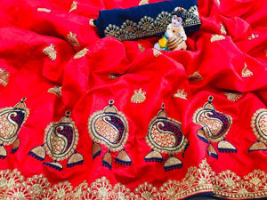 Lightful Red color Sana Silk Embroidery Sari MDS-2 RED
