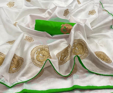 Off White and Parrot Green color Sana Silk Embroidery Sari MDS-3 PG