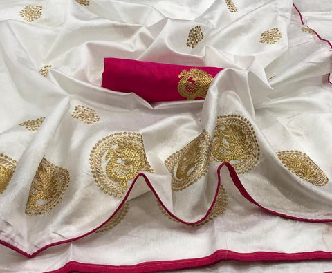 Off White and Pink color Sana Silk Embroidery Sari MDS-3 PINK