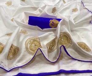 Off White and Royal Blue color Sana Silk Embroidery Sari MDS-3 RB