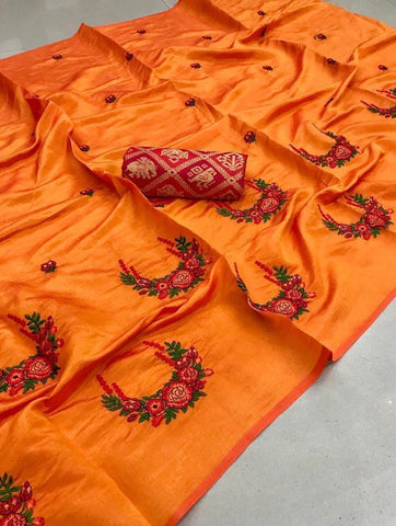 Orange color Party wear Paper Silk Embroidery Sari MDS-4 ORANGE