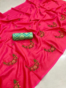 Perfect Pink color Party wear Paper Silk Embroidery Sari MDS-4 Pink
