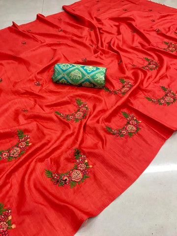 Red color Party wear Paper Silk Embroidery Sari MDS-4 RED