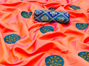 Orange color Party wear Paper Silk Embroidery Sari MDS-5 ORANGE