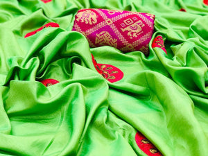 Parrot Green color Party wear Paper Silk Embroidery Sari MDS-5 PG