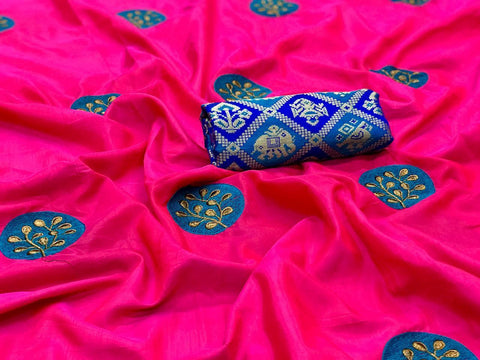 Pink color Party wear Paper Silk Embroidery Sari MDS-5 PINK